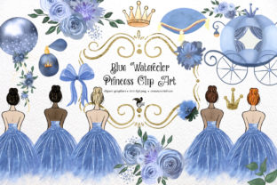 Print on Demand: Blue Watercolor Princess Clipart Graphic Illustrations By Digital Curio