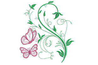 Print on Demand: Butterflies and Flowers Floral & Garden Embroidery Design By litcyz