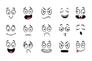 Cartoon Faces. Expressive Eyes and Mouth Graphic Icons By RoMashkaVector