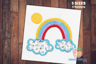 Colorful Rainbow with Clouds Backgrounds Embroidery Design By embroiderydesigns101