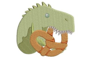 Dinosaur Eating a Pretzel Dinosaurs Embroidery Design By Embroidery Designs