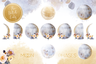 Print on Demand: Floral Moon Phases Clipart Set Graphic Illustrations By daphnepopuliers