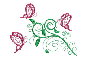 Print on Demand: Flower and Butterflies Floral & Garden Embroidery Design By litcyz