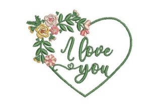 I Love You in Heart Valentine's Day Embroidery Design By Embroidery Designs