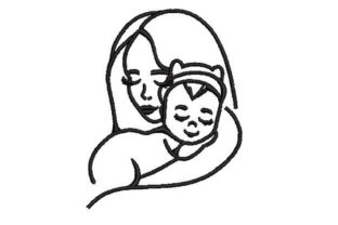 Line Art Woman Holding a Baby Mother Embroidery Design By Embroidery Designs