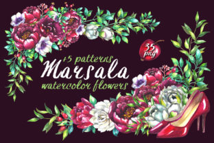 Marsala Wedding Clipart Graphic Illustrations By rembrantd.ulya
