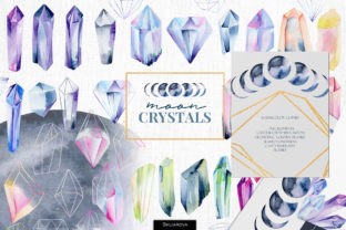 Print on Demand: Moon Crystals Collection Graphic Illustrations By HappyWatercolorShop