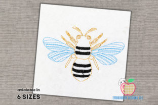 Ornate Bee Quick Stitch Bugs & Insects Embroidery Design By embroiderydesigns101