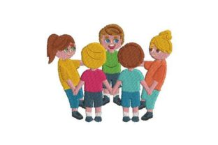 People Holding Hands Friends Embroidery Design By Embroidery Designs
