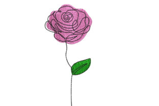 Rose Single Flowers & Plants Embroidery Design By Canada Crafts Studio