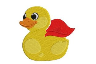 Rubber Duck Wearing a Cape Bed & Bath Embroidery Design By Embroidery Designs