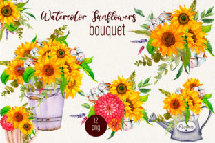 Print on Demand: Sunflower and Cotton Watercolor Bouquet Graphic Illustrations By ElenaZlataArt