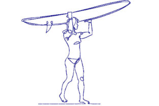 Surfer Girl Hobbies & Sports Embroidery Design By Canada Crafts Studio