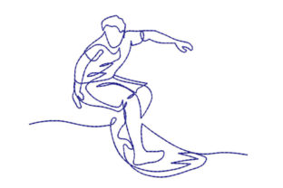 Surfer Man Hobbies & Sports Embroidery Design By Canada Crafts Studio