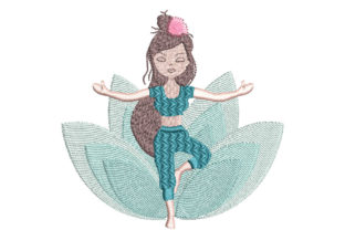 Yoga Girl Hobbies & Sports Embroidery Design By Canada Crafts Studio