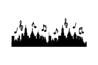 City and Music Notes Silhouette Music Craft Cut File By Creative Fabrica Crafts