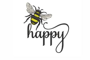 Bee Happy Bugs & Insects Embroidery Design By SonyaEmbroideryStore