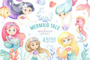 Cute Mermaid Watercolor Clipart Graphic Illustrations By SipkaDesigns 1