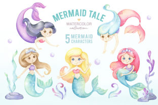 Cute Mermaid Watercolor Clipart Graphic Illustrations By SipkaDesigns 2