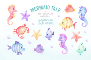 Cute Mermaid Watercolor Clipart Graphic Illustrations By SipkaDesigns 3