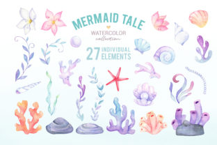 Cute Mermaid Watercolor Clipart Graphic Illustrations By SipkaDesigns 4