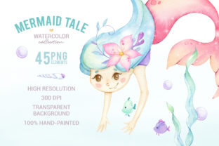 Cute Mermaid Watercolor Clipart Graphic Illustrations By SipkaDesigns 5