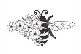 Floral Bee Bugs & Insects Embroidery Design By SonyaEmbroideryStore