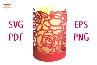 Fresh Roses Papercut Lantern SVG Cut Graphic 3D SVG By Nic Squirrell