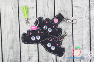 Halloween Bat ITH Key Fob Halloween Embroidery Design By embroiderydesigns101