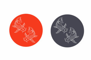 Japanese Koi Fish Ilustration Lineart Graphic Animals By Wilansa