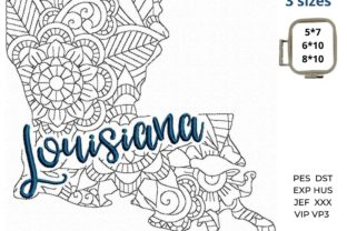 Louisiana State North America Embroidery Design By LaceArtDesigns