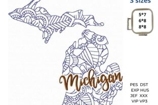 Michigan State North America Embroidery Design By LaceArtDesigns