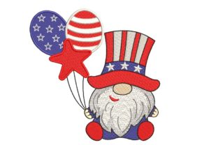 Print on Demand: Patriotic American Gnome Independence Day Embroidery Design By ArtEMByNatali
