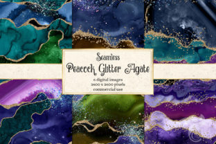 Print on Demand: Peacock Glitter Agate Digital Paper Graphic Textures By Digital Curio 1