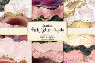 Print on Demand: Pink Glitter Agate Textures Graphic Textures By Digital Curio 1