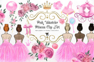 Print on Demand: Pink Watercolor Princess Clipart Graphic 3D Pillow Box By Digital Curio