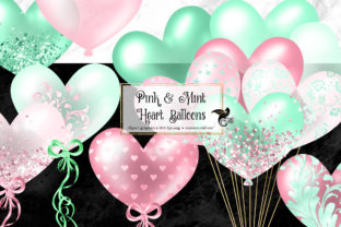 Print on Demand: Pink and Mint Heart Balloons Clipart Graphic Illustrations By Digital Curio