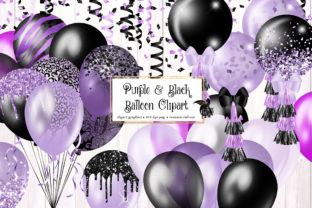 Print on Demand: Purple and Black Balloons Clipart Graphic Illustrations By Digital Curio