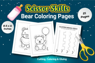 Scissor Skills Bear Coloring Pages Graphic Coloring Pages & Books Kids By KDP Booktopia