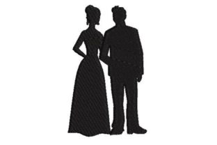 Silhouette of Prom Couple Graduation Embroidery Design By Embroidery Designs