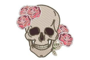 Skull with Roses Pirates Embroidery Design By Embroidery Designs