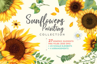 Print on Demand: Sunflower Watercolor Painting Graphic Illustrations By nesdigiart 1
