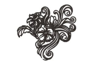 Tooled Leather Floral Print Outline Flowers Embroidery Design By Embroidery Designs