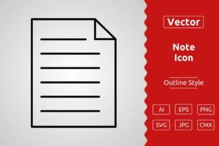 Print on Demand: Vector Note Outline Icon Graphic Icons By Muhammad Atiq