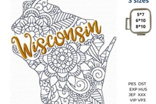 Wisconsin State North America Embroidery Design By LaceArtDesigns