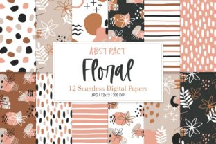 Digital Paper Pack Abstract Floral Graphic Patterns By Sweet Shop Design