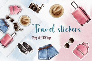 Travel Stickers, Digital Stickers Graphic Illustrations By Arte de Catrin
