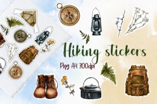Hiking Stickers, Camping Travel PNG Graphic Illustrations By Arte de Catrin