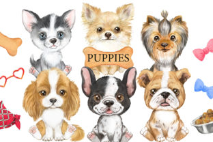 Puppies Watercolor Clipart. Small Dogs Graphic Add-ons By EvArtPrint