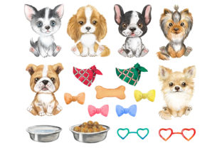 Puppies Watercolor Clipart. Small Dogs Graphic Add-ons By EvArtPrint 2